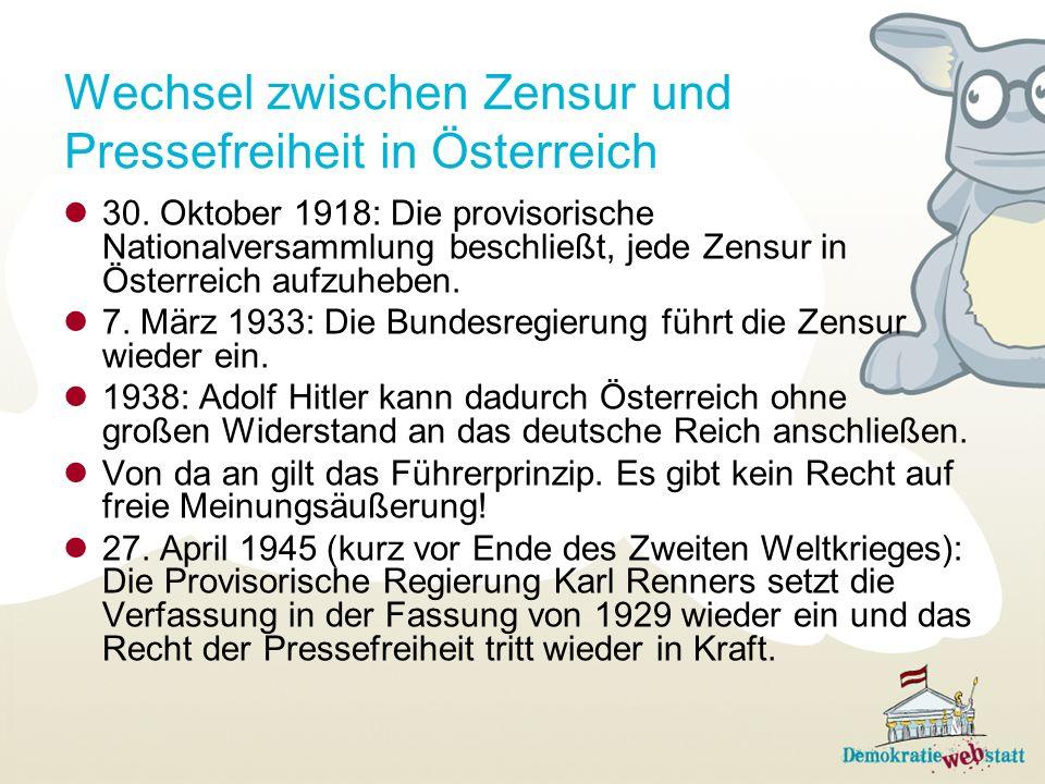 Wechsel zwischen Zensur und Pressefreiheit in Österreich