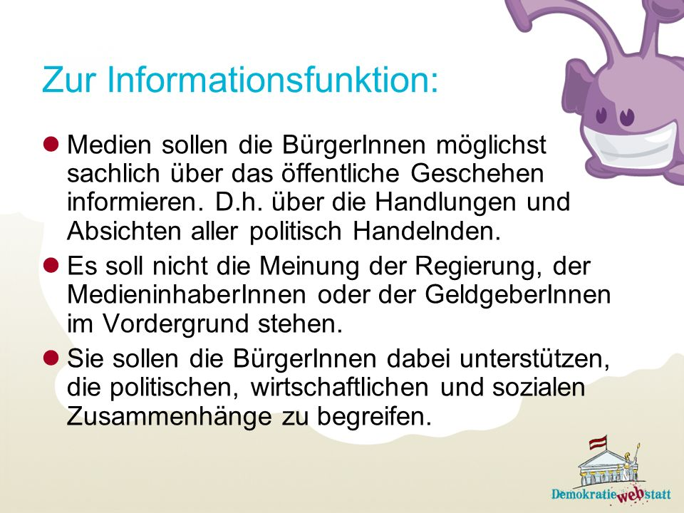 Zur Informationsfunktion: