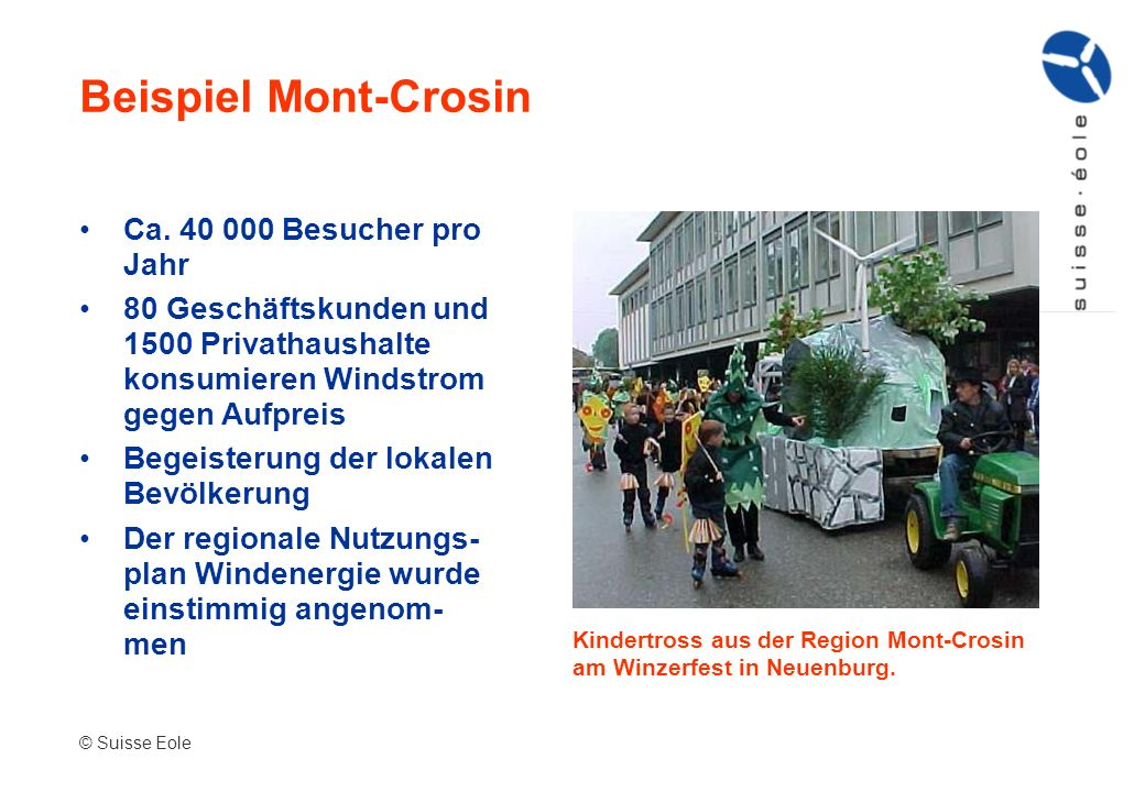 Beispiel Mont-Crosin Ca. 40 000 Besucher pro Jahr