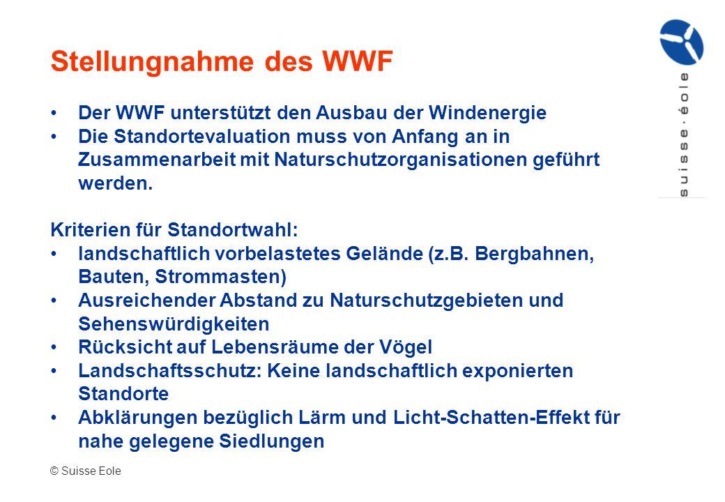 Stellungnahme des WWF Der WWF unterstützt den Ausbau der Windenergie