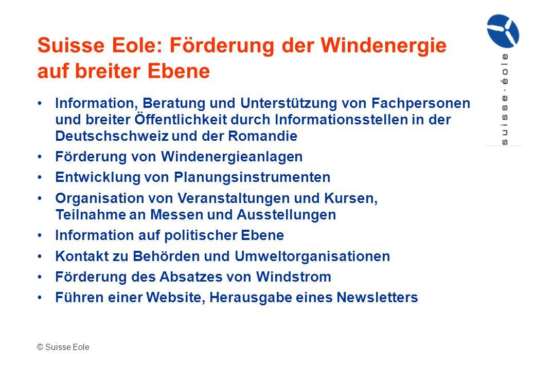 Suisse Eole: Förderung der Windenergie auf breiter Ebene