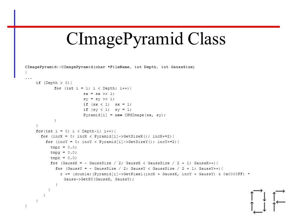 CImagePyramid ClassCImagePyramid::CImagePyramid(char *FileName, int Depth, int GaussSize) { ... if (Depth > 0){