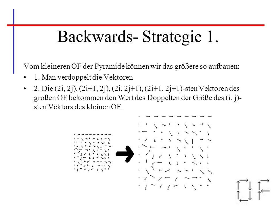 Backwards- Strategie 1. Vom kleineren OF der Pyramide können wir das größere so aufbauen: 1. Man verdoppelt die Vektoren.