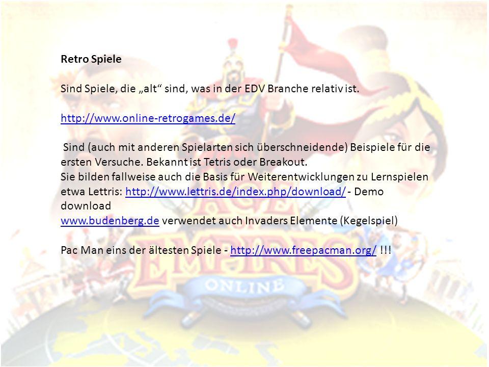 """Retro Spiele Sind Spiele, die """"alt sind, was in der EDV Branche relativ ist. http://www.online-retrogames.de/"""