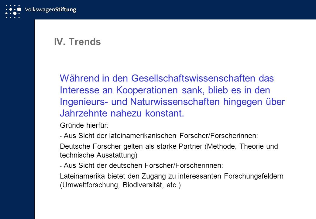 IV. Trends