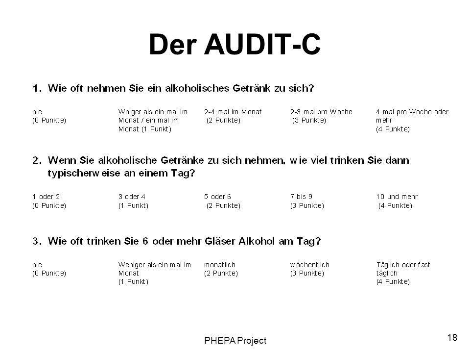 Der AUDIT-C PHEPA Project