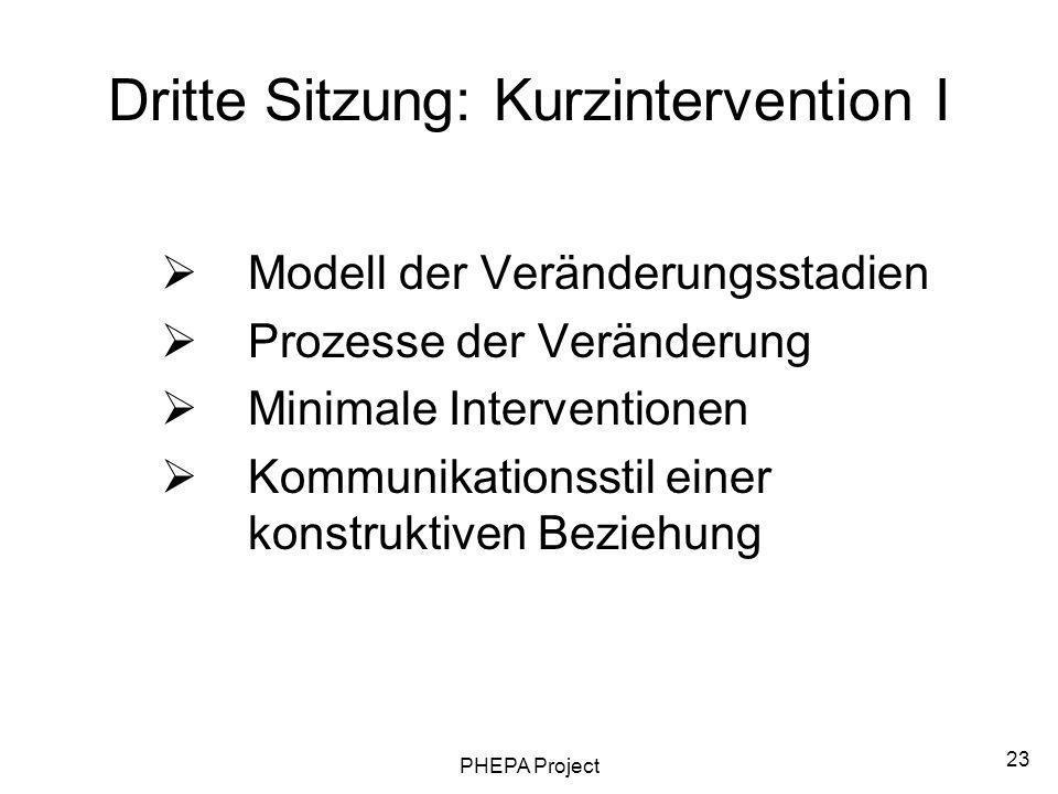 Dritte Sitzung: Kurzintervention I