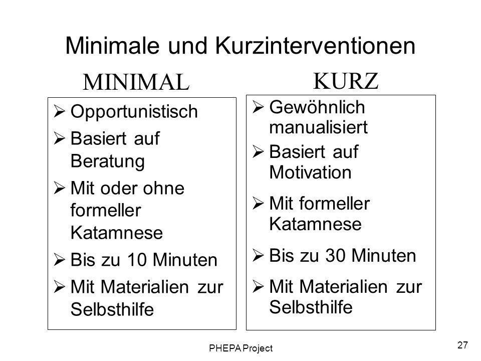 Minimale und Kurzinterventionen