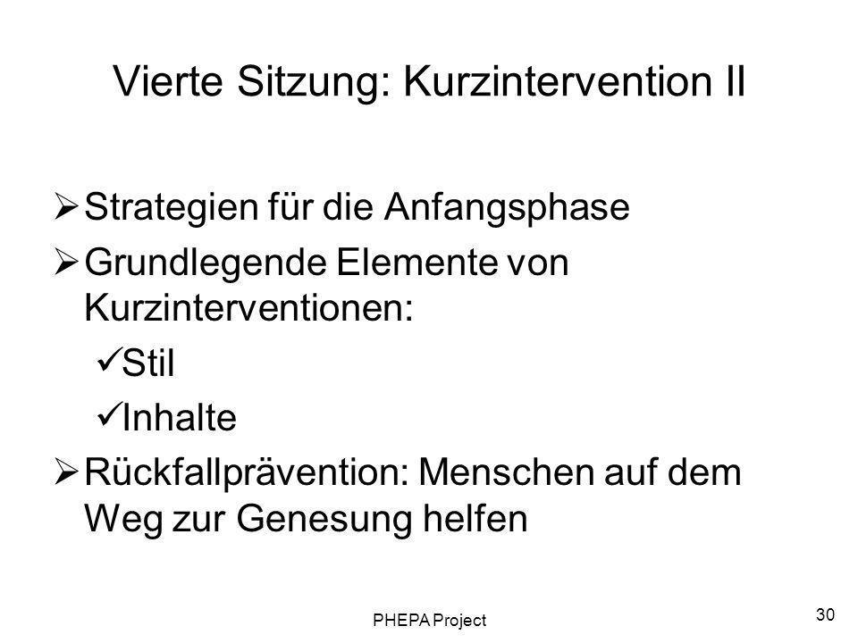 Vierte Sitzung: Kurzintervention II