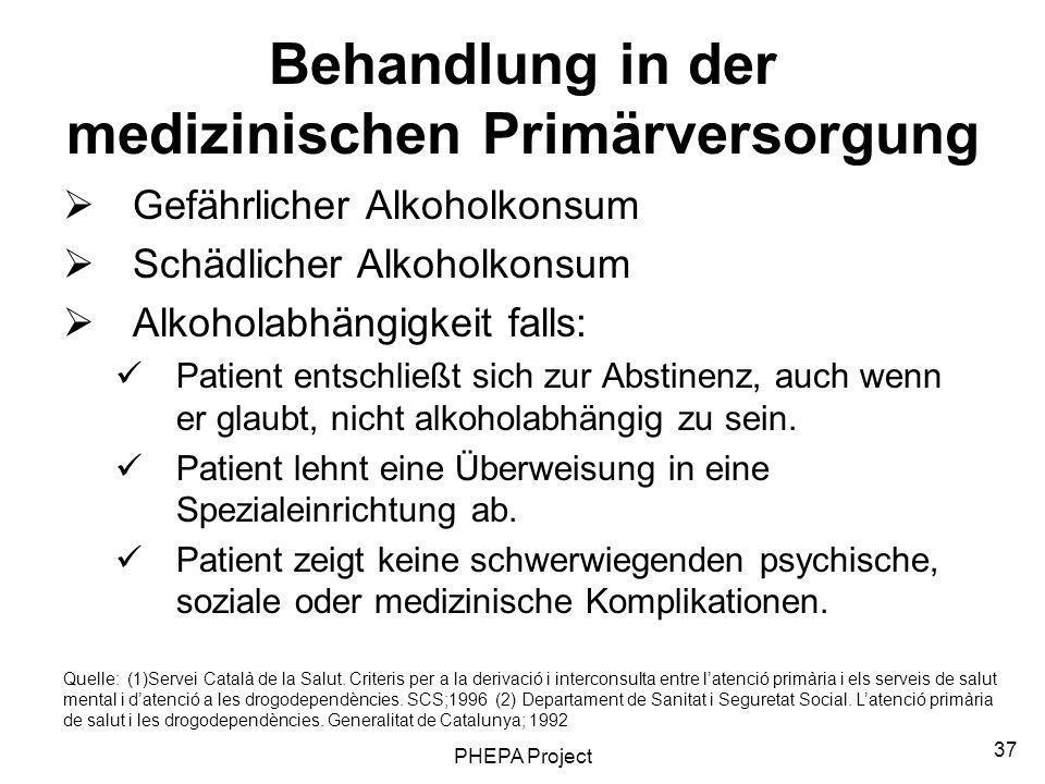 Behandlung in der medizinischen Primärversorgung