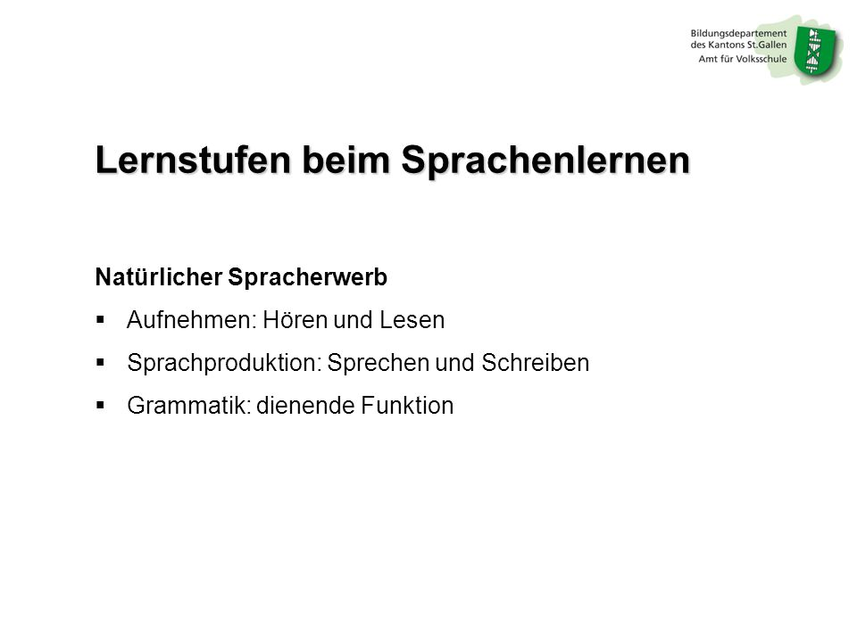 Lernstufen beim Sprachenlernen
