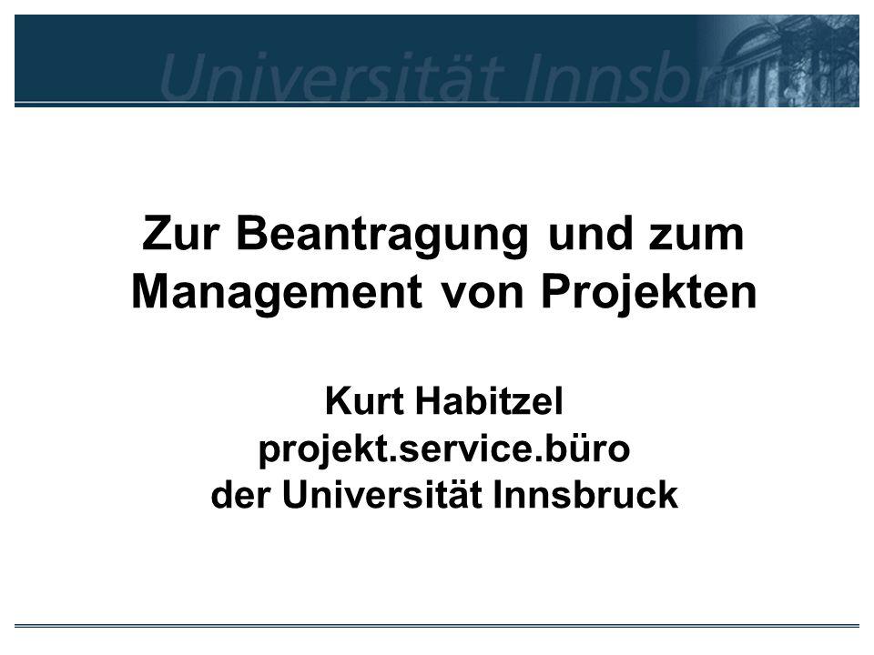 Zur Beantragung und zum Management von Projekten