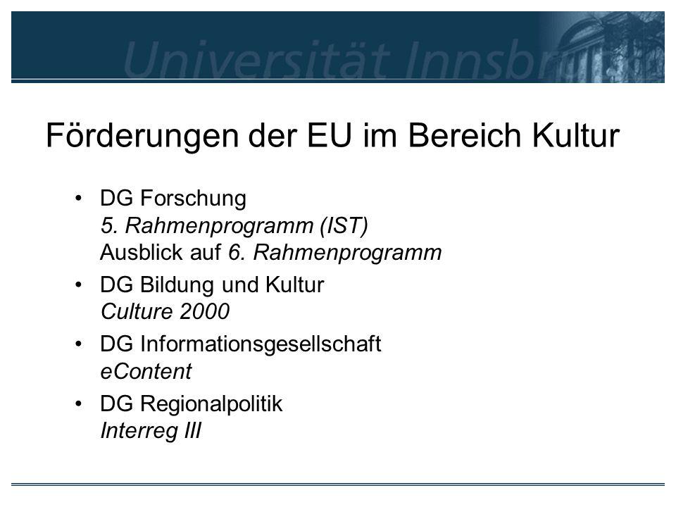 Förderungen der EU im Bereich Kultur