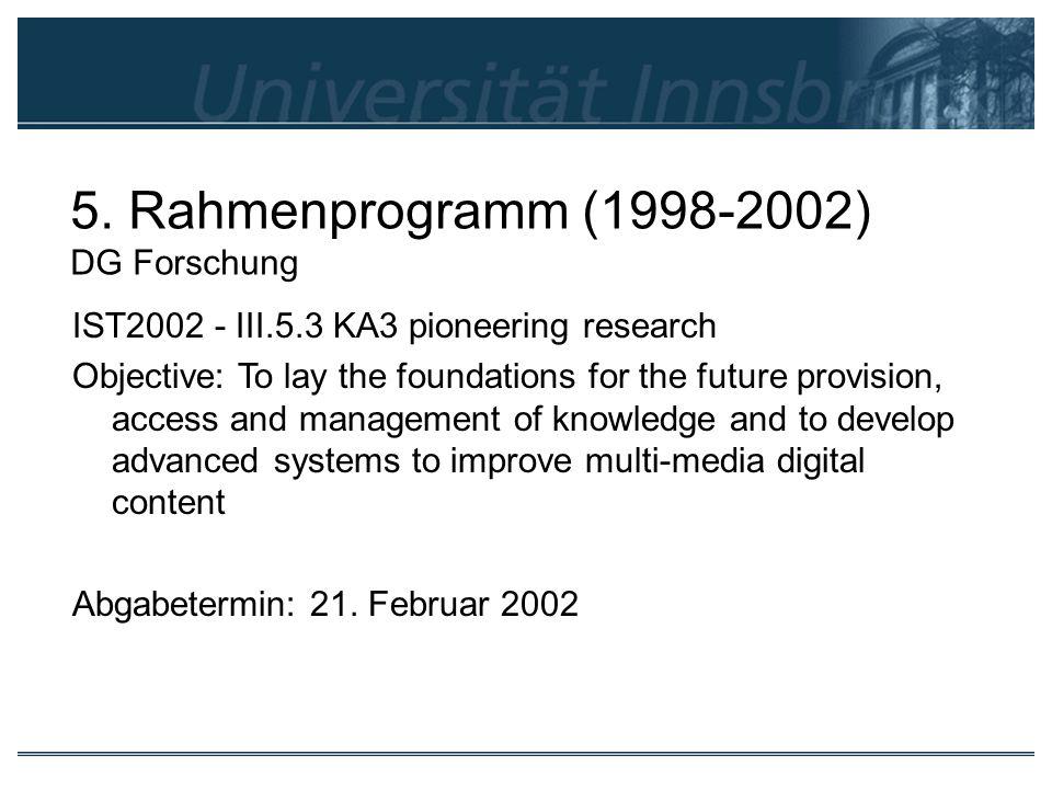 5. Rahmenprogramm (1998-2002) DG Forschung
