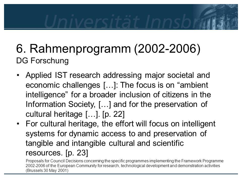 6. Rahmenprogramm (2002-2006) DG Forschung