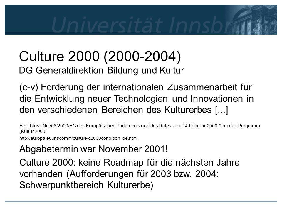Culture 2000 (2000-2004) DG Generaldirektion Bildung und Kultur
