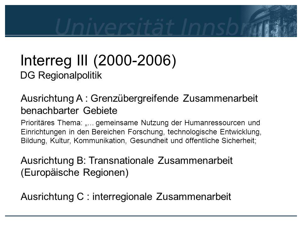 Interreg III (2000-2006) DG Regionalpolitik