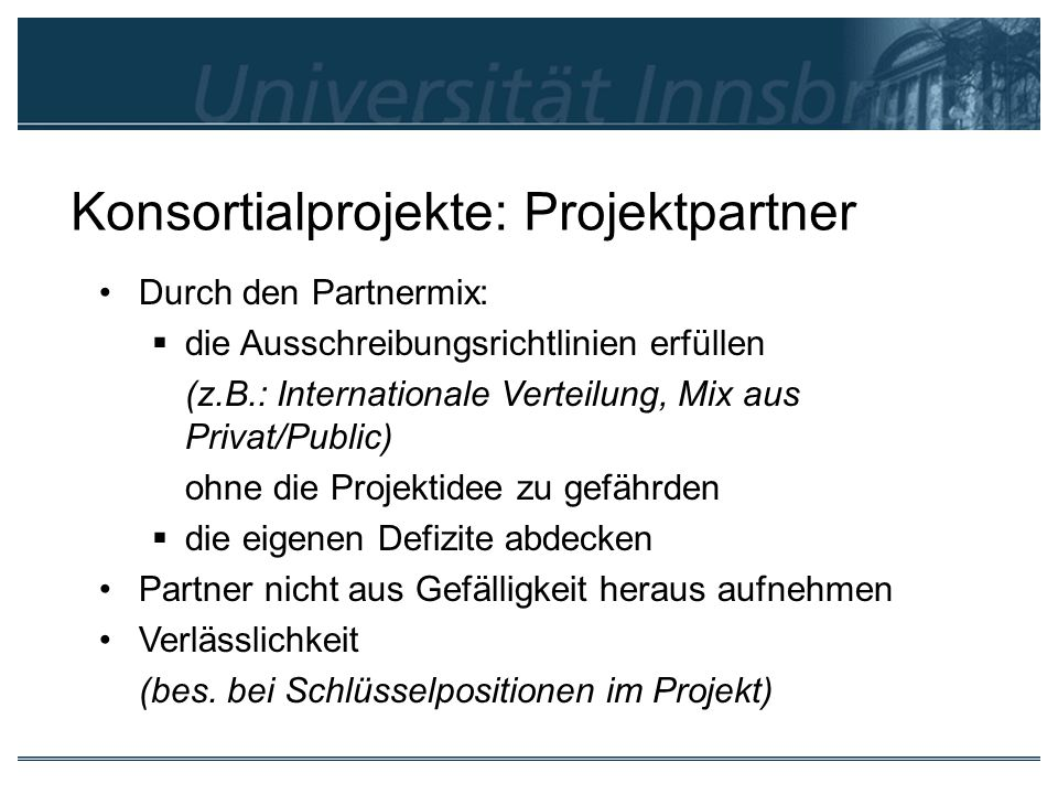 Konsortialprojekte: Projektpartner