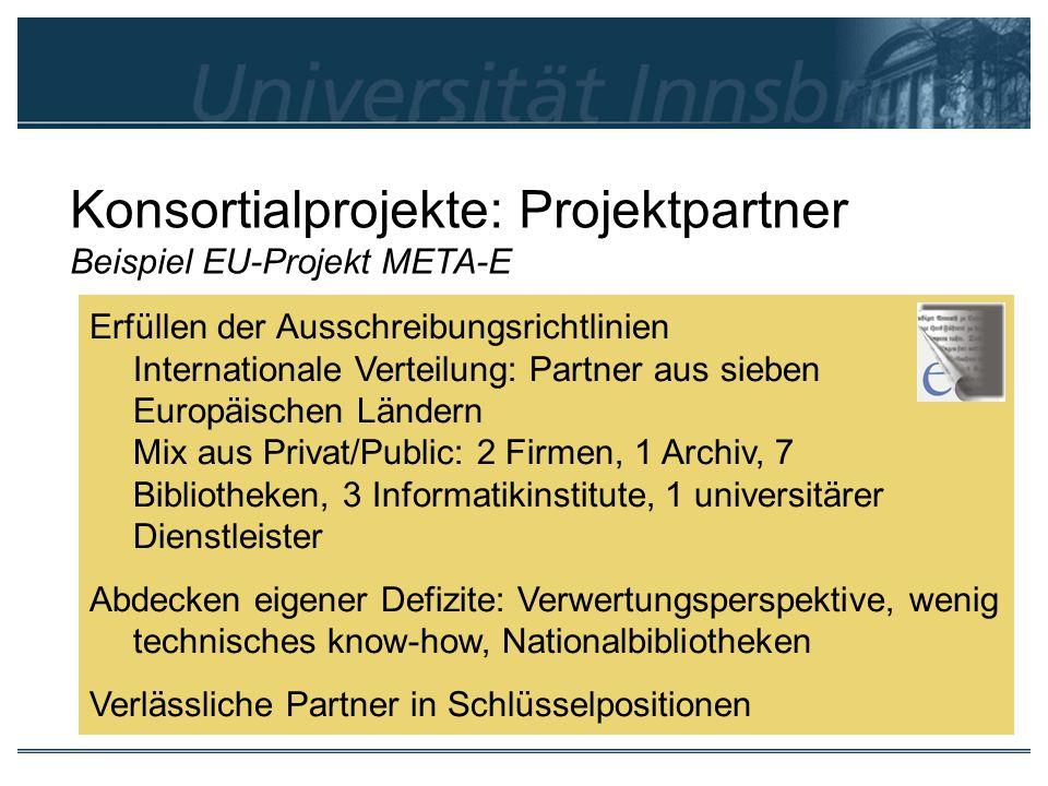Konsortialprojekte: Projektpartner Beispiel EU-Projekt META-E