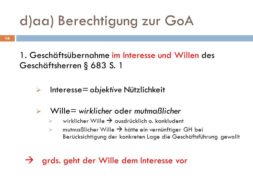 d)aa) Berechtigung zur GoA