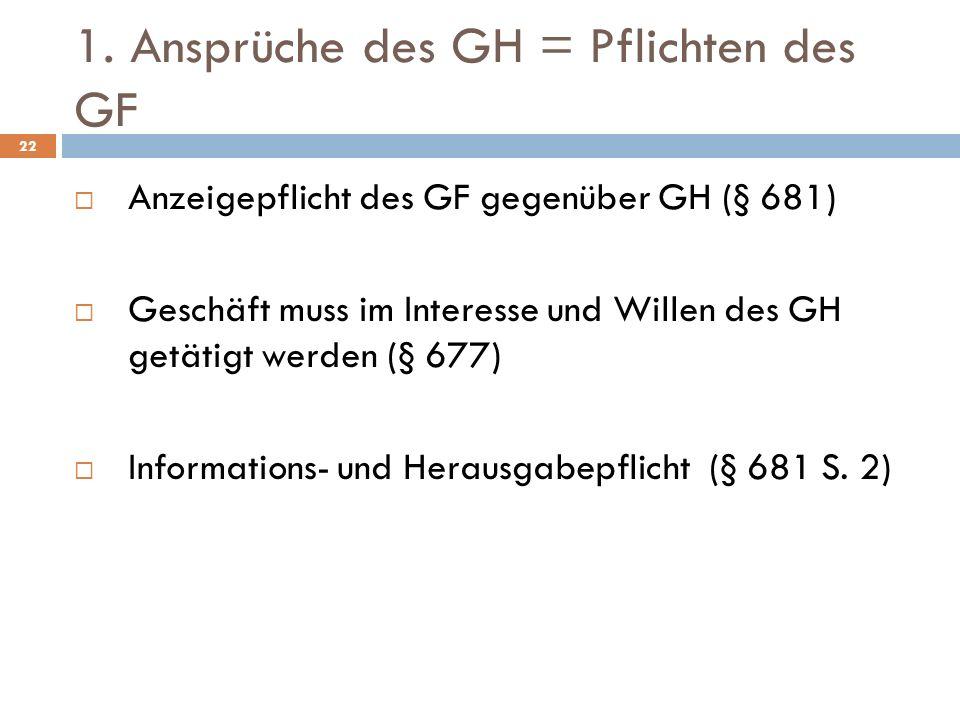 1. Ansprüche des GH = Pflichten des GF