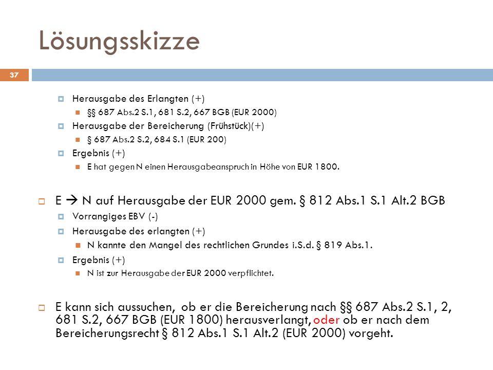 Lösungsskizze Herausgabe des Erlangten (+) §§ 687 Abs.2 S.1, 681 S.2, 667 BGB (EUR 2000) Herausgabe der Bereicherung (Frühstück)(+)