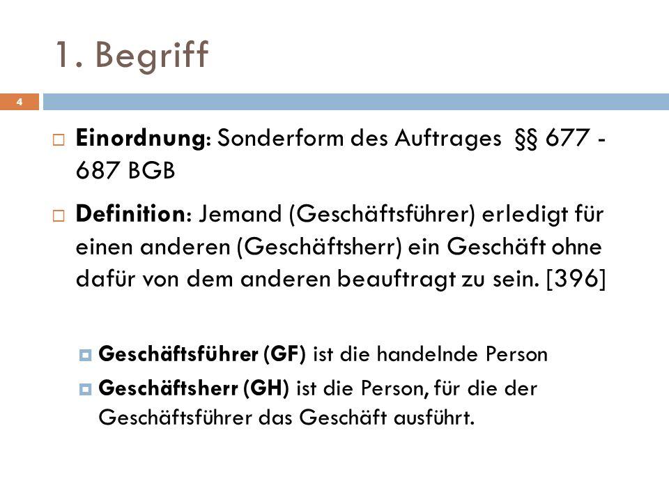 1. Begriff Einordnung: Sonderform des Auftrages §§ 677 - 687 BGB