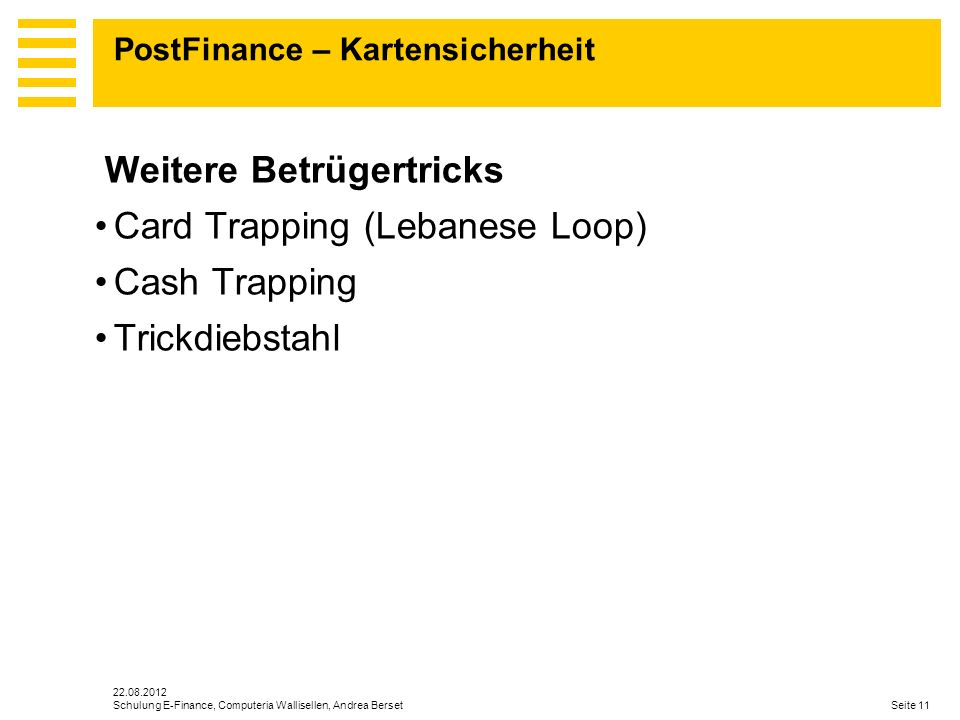 PostFinance – Kartensicherheit