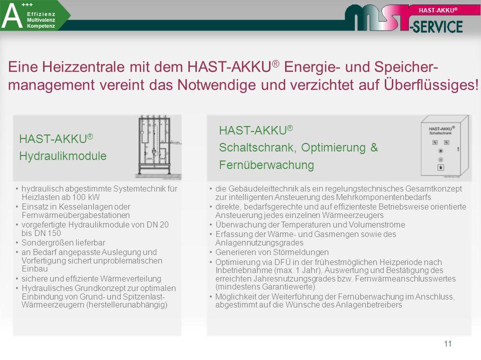 HAST-AKKU® Eine Heizzentrale mit dem HAST-AKKU® Energie- und Speicher-management vereint das Notwendige und verzichtet auf Überflüssiges!