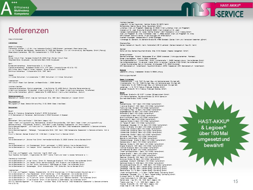 HAST-AKKU® & Legioex® über 180 Mal umgesetzt und bewährt!