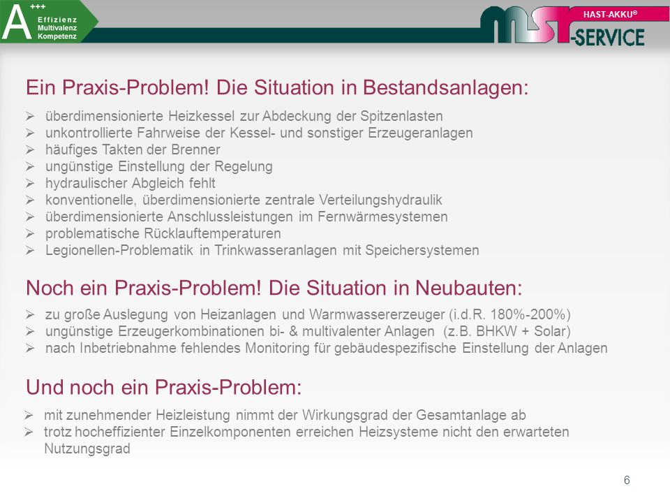 Ein Praxis-Problem! Die Situation in Bestandsanlagen:
