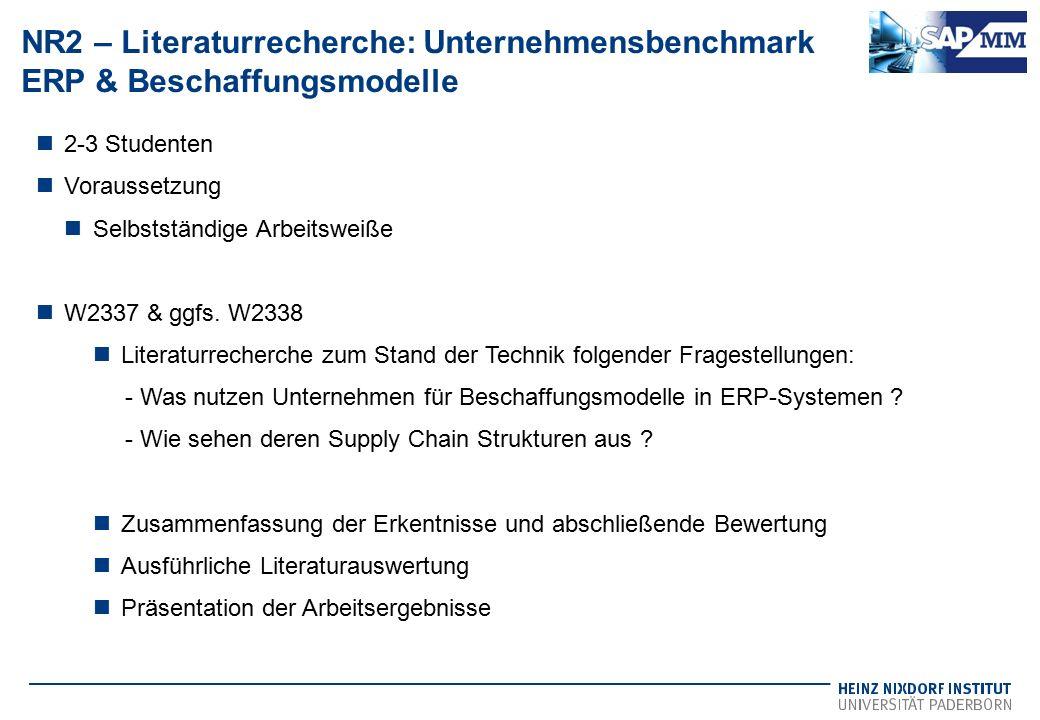NR2 – Literaturrecherche: Unternehmensbenchmark ERP & Beschaffungsmodelle