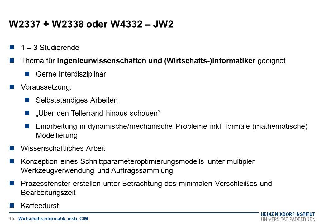 W2337 + W2338 oder W4332 – JW2 1 – 3 Studierende