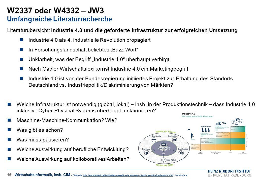 W2337 oder W4332 – JW3 Umfangreiche Literaturrecherche
