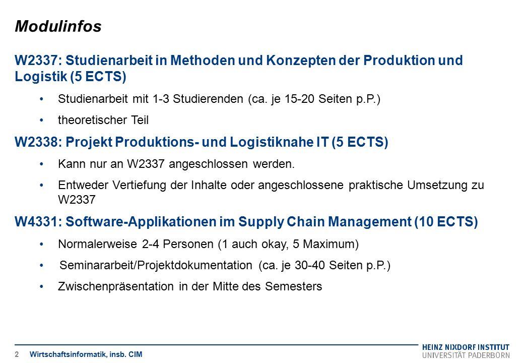 Modulinfos W2337: Studienarbeit in Methoden und Konzepten der Produktion und Logistik (5 ECTS)