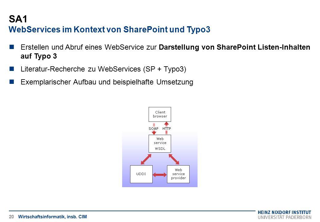SA1 WebServices im Kontext von SharePoint und Typo3