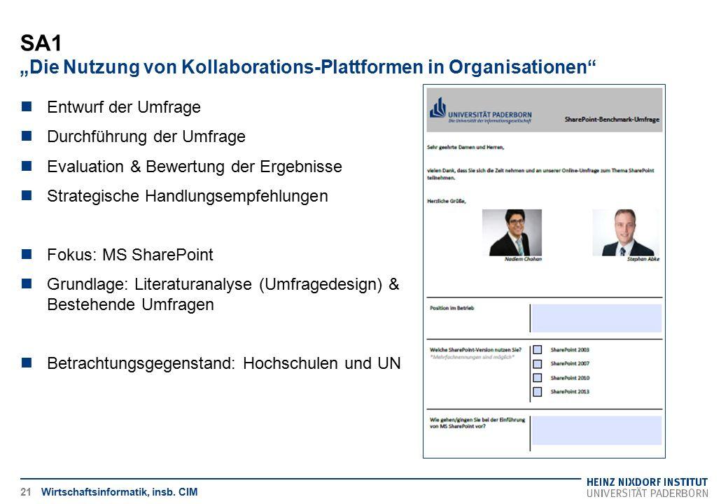 """SA1 """"Die Nutzung von Kollaborations-Plattformen in Organisationen"""