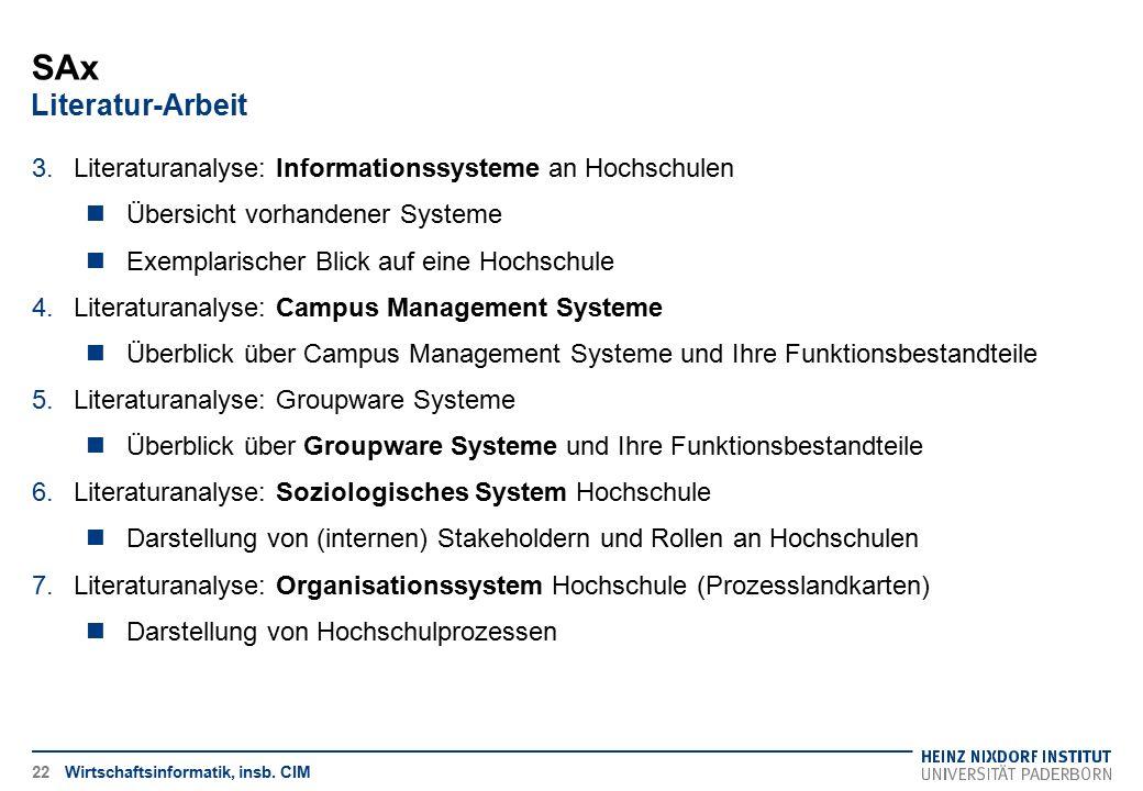 SAx Literatur-Arbeit Literaturanalyse: Informationssysteme an Hochschulen. Übersicht vorhandener Systeme.
