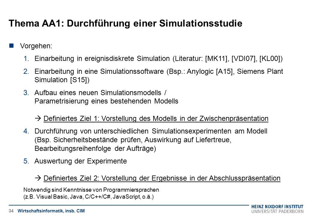 Thema AA1: Durchführung einer Simulationsstudie