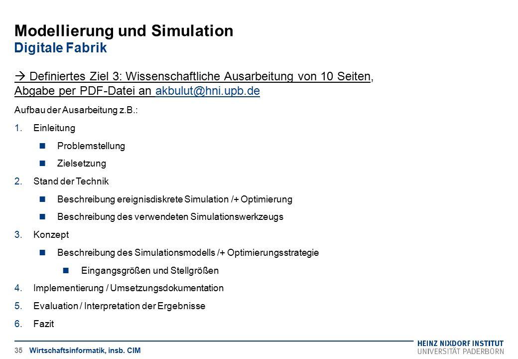 Modellierung und Simulation Digitale Fabrik