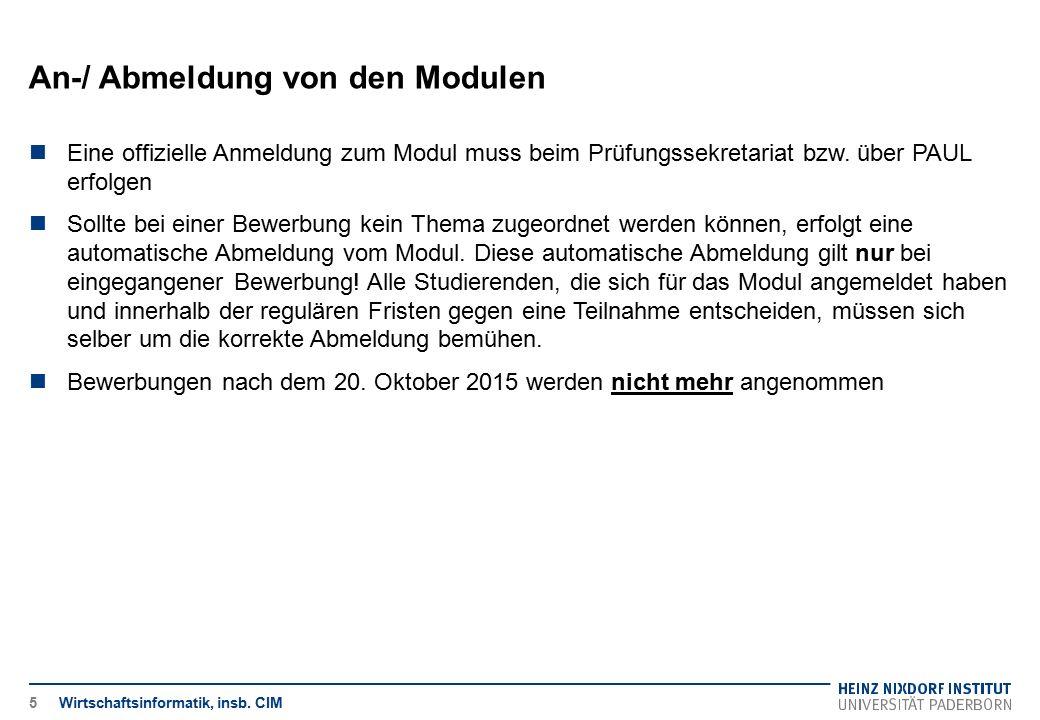 An-/ Abmeldung von den Modulen