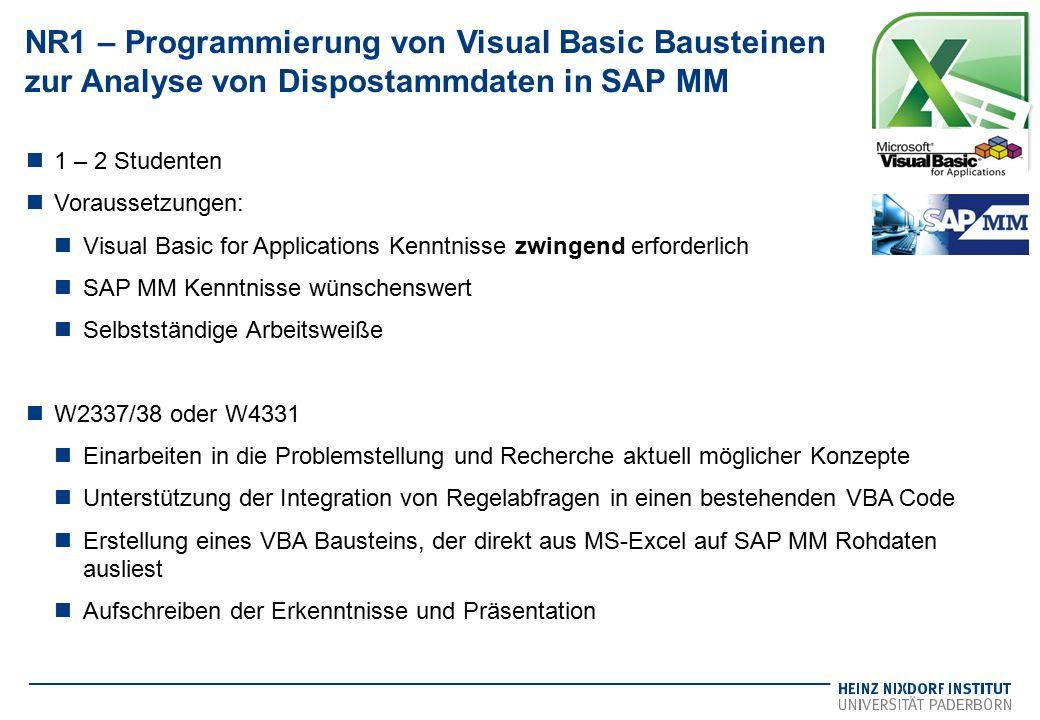 NR1 – Programmierung von Visual Basic Bausteinen zur Analyse von Dispostammdaten in SAP MM