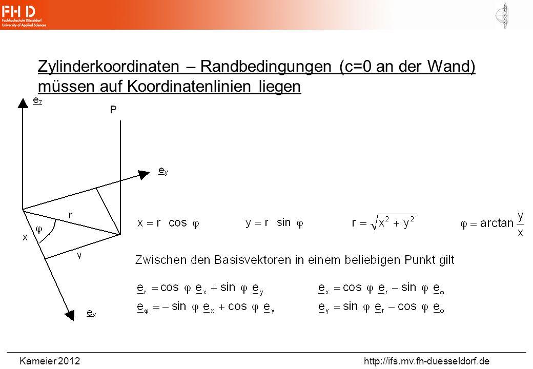 Zylinderkoordinaten – Randbedingungen (c=0 an der Wand) müssen auf Koordinatenlinien liegen