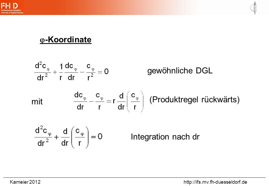 -Koordinate gewöhnliche DGL (Produktregel rückwärts) mit Integration nach dr