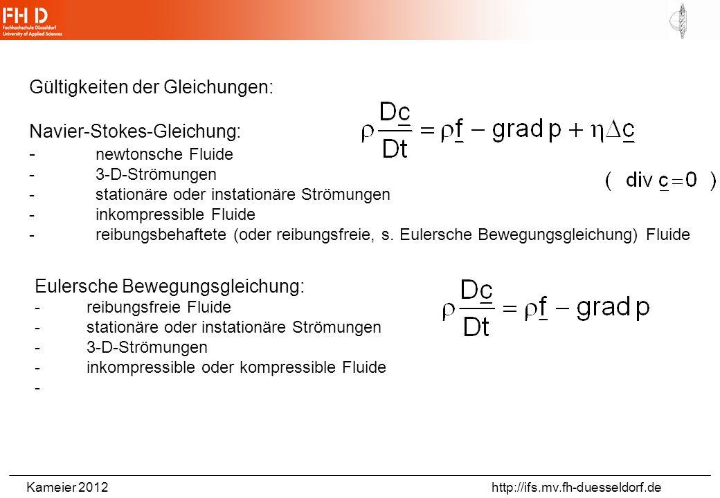 Gültigkeiten der Gleichungen: Navier-Stokes-Gleichung: