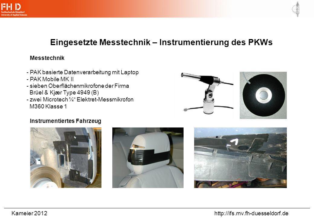Eingesetzte Messtechnik – Instrumentierung des PKWs