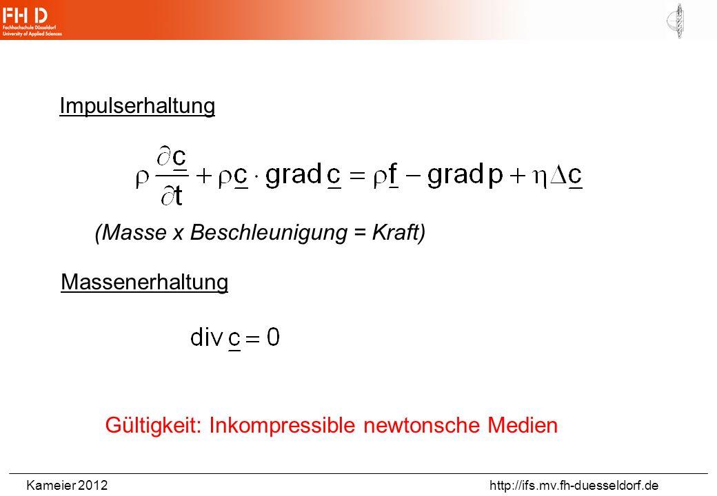 Impulserhaltung (Masse x Beschleunigung = Kraft) Massenerhaltung.