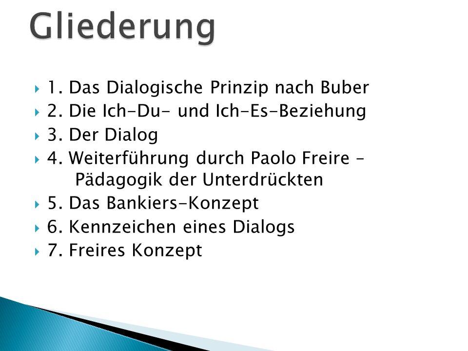 Gliederung 1. Das Dialogische Prinzip nach Buber