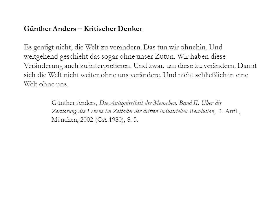 Günther Anders – Kritischer Denker