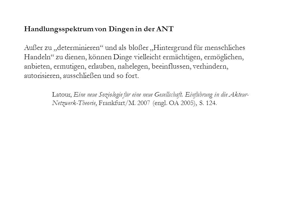 Handlungsspektrum von Dingen in der ANT